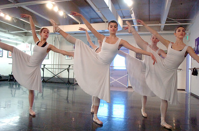 Dances Alexandra Eddy, left, Mackenzie Ramsey, Tess Victoria,  Rebecca Terry, and Natalie Roubique, perform during rehearsal of Danse Etoile's A Christmas Carol  at the studio on Saturday. More photos please see www.broomfieldenterprise.com December 10, 2011 Staff photo/ David R. Jennings