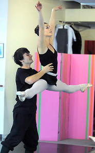 Natalie Roubique and Cooper Ramsey perform a dance during rehearsal of Danse Etoile's A Christmas Carol  at the studio on Saturday. More photos please see www.broomfieldenterprise.com December 10, 2011 Staff photo/ David R. Jennings