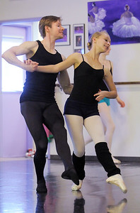 Chrstopher Darling dances with Rebecca Terry during rehearsal of Danse Etoile's A Christmas Carol  at the studio on Saturday. More photos please see www.broomfieldenterprise.com December 10, 2011 Staff photo/ David R. Jennings