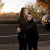 Rachel Volesky, 16, left, and Michaela Mattila, 16, comfort each other as the sunset during the dedication of Kelsey's Bridge in memory of their friend, Kelsey Marie Shannon, on Lowell Blvd. in the Broadlands.<br /> <br /> October 14, 2011<br /> staff photo/ David R. Jennings
