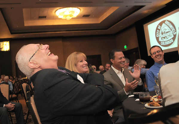 Retired Broomfield City and County Manager George Di Ciero laughs at a story of his early years as a manager during his retirement party at the Omni Interlocken Hotel and Resort.<br /> July 30, 2011<br /> staff photo/ David R. Jennings