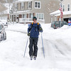 Eric Luke cross country skis along Oak Circle during the late December snow storm on Thursday.<br /> <br /> December 22, 2011<br /> staff photo/ David R. Jennings