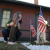 Robin Tutt and her daughter Sarah, 5, look at the new location of Shep the Turnpike Dog's grave during the Broomfield Depot Museum 100th anniversary party on Saturday<br /> October 17, 2009<br /> Staff photo/David R. Jennings