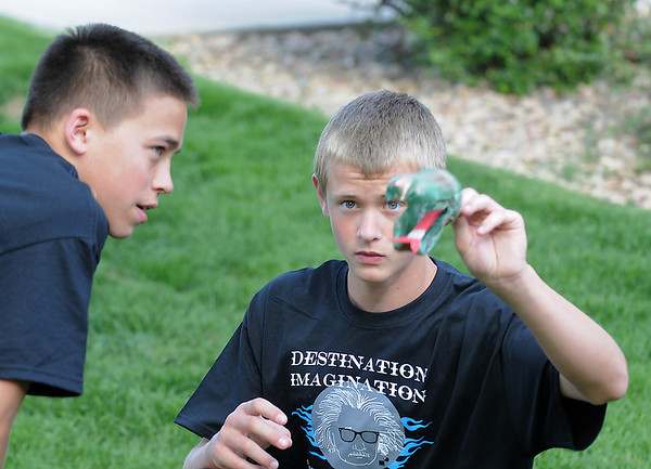 Nick Solusod, left, and Matthew Davis make a snake's head while working on the set for the Destination Imagination 7th grade team the Creativity Club presentation for the Global Finals in Tennessee.<br /> <br /> May 10, 2012 <br /> staff photo/ David R. Jennings
