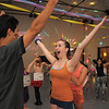 "Antonio Louck, 14, left, dances with Melissa Learish, 14, to ""YMCA"" during the disco dance off for the School of Ballet Nouveau Colorado at the BNC studio on Saturday.<br /> July 9, 2011<br /> staff photo/ David R. Jennings"