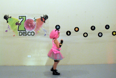 Delany Harper, 6, dressed in costume for the disco dance off for the School of Ballet Nouveau Colorado at the BNC studio on Saturday. July 9, 2011 staff photo/ David R. Jennings