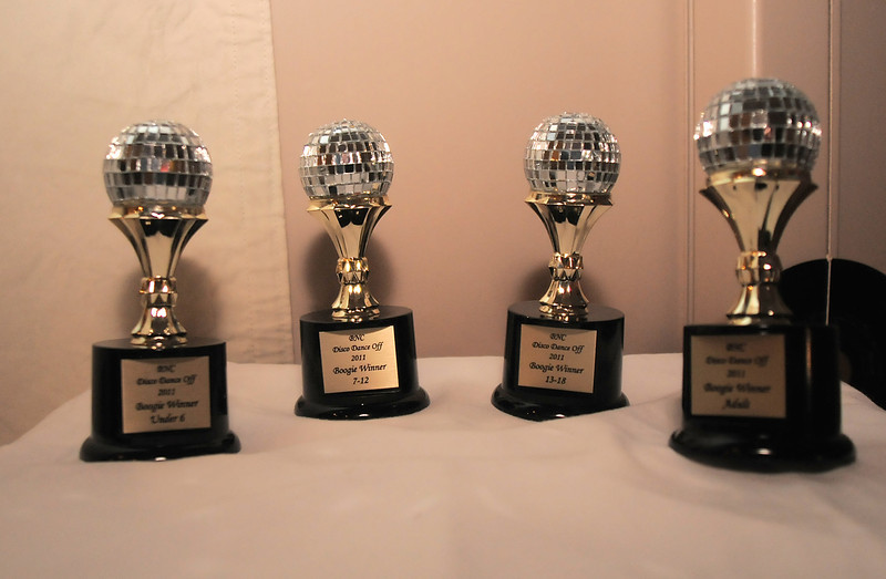 Trophies for the winners of the disco dance off for the School of Ballet Nouveau Colorado at the BNC studio on Saturday.<br /> July 9, 2011<br /> staff photo/ David R. Jennings