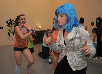 BNC school director Julia Wilkinson Manley, right, dances with students  during the disco dance off for the School of Ballet Nouveau Colorado at the BNC studio on Saturday. July 9, 2011 staff photo/ David R. Jennings