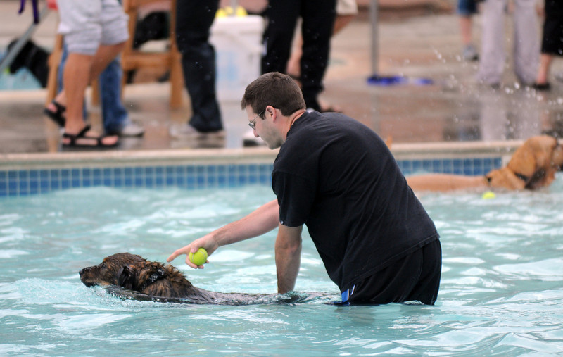 Dave Becker helps his dog Steve swim to the edge of the pool during Dog Daze at the Bay on Saturday.<br /> <br /> <br /> Sept. 12, 2009<br /> Staff photo/David R. Jennings