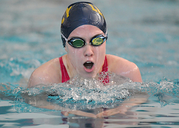 Kayla Stuckey, Legacy, swimming the breast stroke in the 200 yard IM event at the Boulder County Invitational swim meet at the South Boulder Recreation Center on Saturday.<br /> <br /> January 23, 2010<br /> Staff photo/David R. Jennings