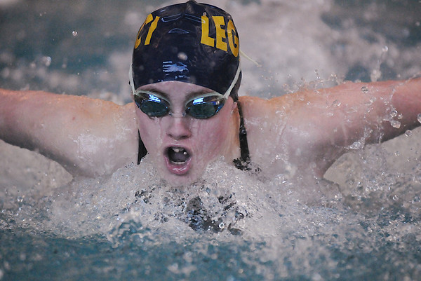 Sara Nash, Legacy, swimming in the 100 yard butterfly event in the Boulder County Invitational swim meet at the South Boulder Recreation Center on Saturday.<br /> <br /> <br /> January 23, 2010<br /> Staff photo/David R. Jennings