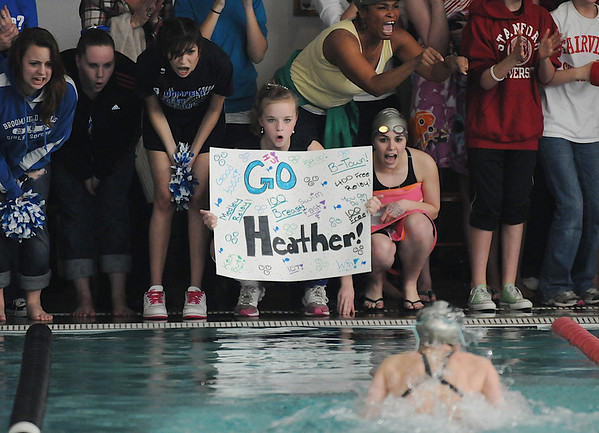 Broomfield teammates cheer on Heather Shaver swimming the breast stroke in the 200 yard medley relay at the Boulder County Invitational swim meet at the South Boulder Rec Center on Saturday.<br /> <br /> <br /> January 23, 2010<br /> Staff photo/David R. Jennings