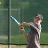 Mitch Kusick, Broomfield High returns the ball during the doubles match against Cherry Creek at the Broomfield Swim and Tennis Club on Wednesday.<br /> Sept. 16, 2009<br /> Staff photo/David R. Jennings