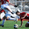 Garrett Seitz, Broomfield collides with Nick Schiller, Castle View, during Saturday's game at Elizabeth Kennedy Stadium.<br /> October 31, 2009<br /> Staff photo/David R. Jennings