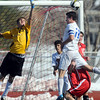 Cole Chapleski, Broomfield attempts to get the ball into the goal past  Castle View's keeper Sam Peterson during Saturday's game at Elizabeth Kennedy Stadium.<br /> October 31, 2009<br /> Staff photo/David R. Jennings