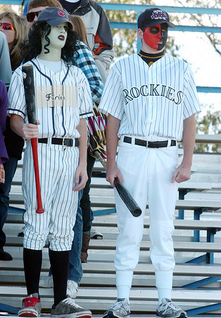 Brunson Townsend, left, and Nathan Clouse dressed in costume for Halloween to  watch Saturday's game between Broomfield and Greeley Central at Elizabeth Kennedy Stadium. <br /> October 31, 2009<br /> Staff photo/David R. Jennings