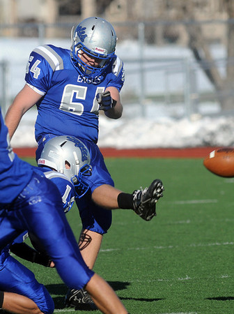 Drew Clark, Broomfield, kicks a field goal against Greeley Central, during Saturday's game at Elizabeth Kennedy Stadium. <br /> October 31, 2009<br /> Staff photo/David R. Jennings