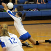 Broomfield's Katie Nehf, tries to get to the ball  spiked by  Mountain View during Thursday's game at Broomfield.<br /> October 1, 2009<br /> staff photo/David Jennings