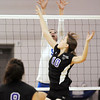 Amanda Ardito, Broomfield, blocks the ball from Raquel Glakeler, Mountain View, during Thursday's game at Broomfield.<br /> October 1, 2009<br /> staff photo/David Jennings
