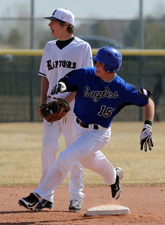 Broomfield Silver Creek Baseball7.JPG Dan Guebelle of Broomfield  rounds second against Silver Creek on Saturday.<br /> Cliff Grassmick/ March 19, 2011