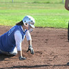 Tiana Rendon, right, Broomfield, slides to second base past Sam Keller,  Longmont, during play at Broomfield High Saturday.<br /> <br /> Sept. 26, 2009<br /> Staff photo/David R. Jennings