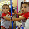 Ian Harrison, 11 months-old, looks at himself reflected in mirrors during the Early Literacy Fair at the Mamie Doud Eisenhower Public Library on Saturday.<br /> <br /> July 15, 2011<br /> staff photo/ David R. Jennings