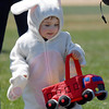 Quinn Callaway, 1 1/2,  dressed as a rabbit, holds his basket for the 16th Annual Egg Scramble at Community Park on Saturday.<br /> Over 1000 children, families and friends attended the event.<br /> April 3, 2010<br /> Staff photo/David R. Jennings