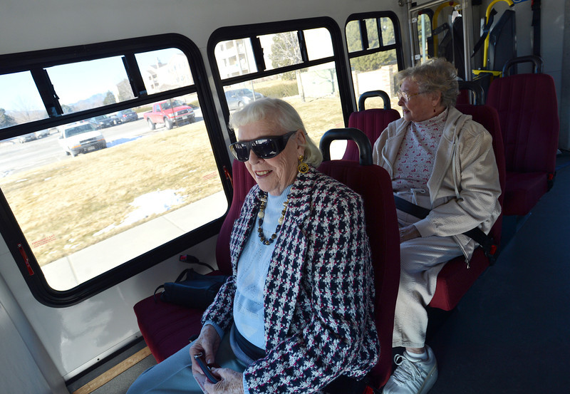 Bridget Billette, left, and Bev Lyons ride the Easy Ride bus to the Broomfield Senior Center on Friday.<br /> January 4, 2013<br /> staff photo/ David R. Jennings
