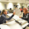 Election judges Thora Hanson, left, and Kathleen Rawlins check a ballot that had an unclear marking at the George Di Ciero City and County Building on Tuesday.<br /> <br /> November 6, 2012<br /> staff photo/ David R. Jennings