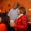 House District 33 candidate Dianne Primavera, right, is hugged by supporter Anthony Stewart a the Broomfield County Democratic party at Corona's restaurant on Tuesday.<br /> November 6, 2012<br /> staff photo/ David R. Jennings