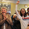 Broomfield council candidate Martha Derda, left, cheers with Jen and her daughter Emily Kuzik, 61/2. as the results are announced during the election night party at Eagle Trace Golf Course on Tuesday.<br /> November 3, 2009<br /> Staff photo/David R. Jennings