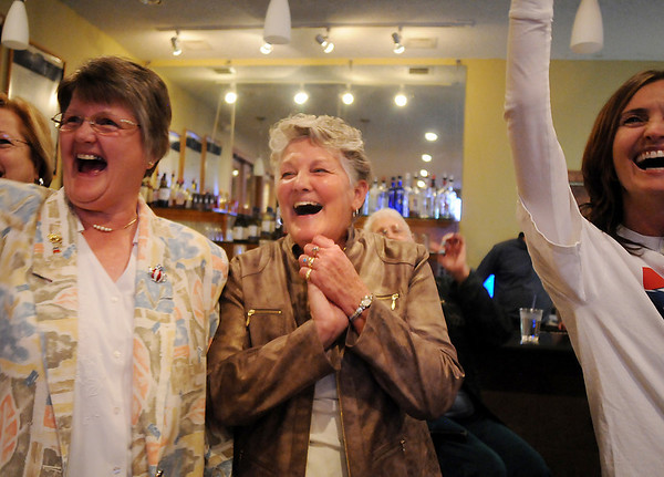 Broomfield council candidate Martha Derda, center, smiles as the results for her ward are announced during the election night party at Eagle Trace Golf Course on Tuesday.<br /> November 3, 2009<br /> Staff photo/David R. Jennings