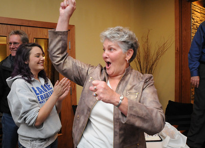 Broomfield council candidate Martha Derda gives a cheer during the election night party at Eagle Trace Golf Course on Tuesday. November 3, 2009 Staff photo/David R. Jennings