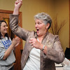 Broomfield council candidate Martha Derda gives a cheer during the election night party at Eagle Trace Golf Course on Tuesday.<br /> November 3, 2009<br /> Staff photo/David R. Jennings