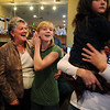 Martha Derda, left, celebrates with her niece Kendall Wingfield, 13, during the election night party at Eagle Trace Golf Course on Tuesday.<br /> November 3, 2009<br /> Staff photo/David R. Jennings