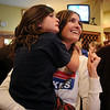 Jen Kuzik watches results with her daughter Emily, 6 1/2 during the election night party at Eagle Trace Golf Course on Tuesday.<br /> November 3, 2009<br /> Staff photo/David R. Jennings