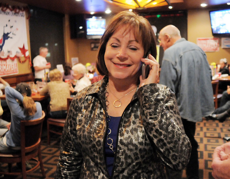 House District 33 representative Dianne Primavera talks on the phone  at the Broomfield Democratic election returns watch party at CB & Potts in Broomfield on Tuesday.<br /> November 2, 2010<br /> staff photo/David R. Jennings
