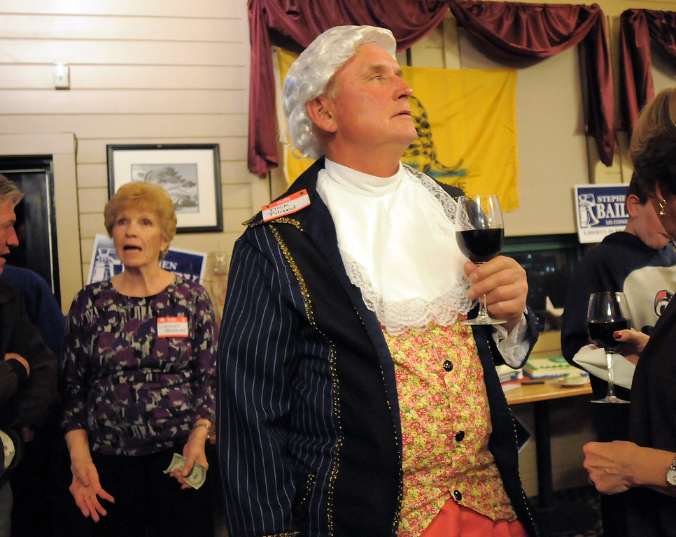 Dick Piland dressed in a mid 1700's costume for the Broomfield Republican election returns watch party at CB & Potts in Westminster on Tuesday.<br /> November 2, 2010<br /> staff photo/David R. Jennings
