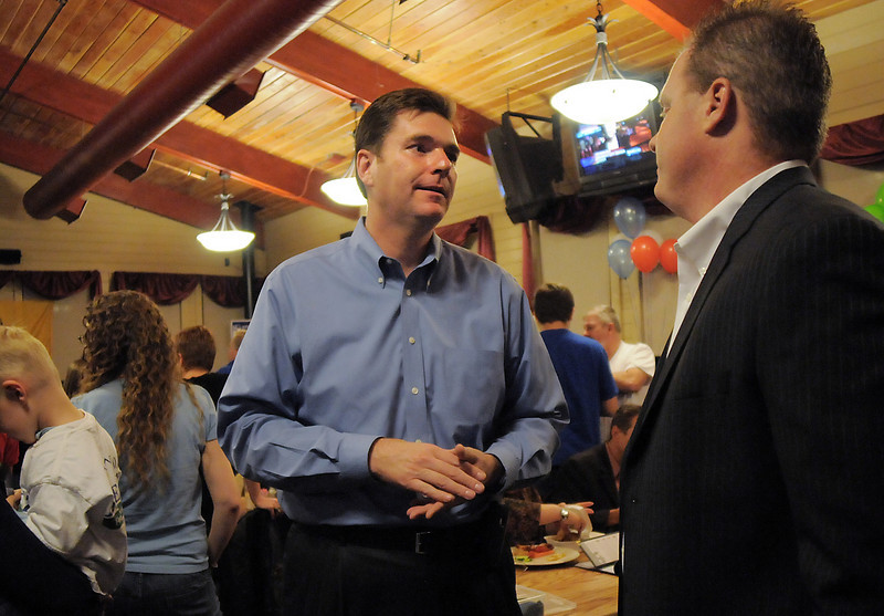 House District 33 candidate Don Beezley chats with Jason Worley at the Broomfield Republican election returns watch party at CB & Potts in Westminster on Tuesday.<br /> November 2, 2010<br /> staff photo/David R. Jennings