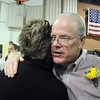 Retiring principal Larry Leatherman hugs a friend during Friday's retirement party at Emerald Elementary School.<br /> May 7, 2010<br /> Staff photo/ David R. Jennings