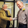 Former Emerald Elementary School principal John Ortner, left, chats with retiring Emerald principal Larry Leatherman during Friday's retirement party at Emerald Elementary School.<br /> May 7, 2010<br /> Staff photo/ David R. Jennings