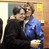 Retiring  Emerald Elementary secretary Diana Wetzel is hug by former school secretary Kay Uran during Friday's retirement party at the school.<br /> May 7, 2010<br /> Staff photo/ David R. Jennings