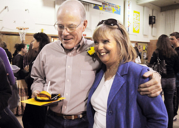 Emerald Elementary School retiring principal Larry Leatherman, left, chats with Broomfield High School principal Ginger Ramsey during Friday's retirement party for six Emerald staff members.<br /> May 7, 2010<br /> Staff photo/ David R. Jennings
