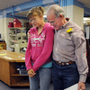 Principal Larry Leatherman, left, and former Emerald student Gabrielle Gonzales, 16, chat in the library during Friday's retirement party for six Emerald Elementary School staff at the school.<br /> May 7, 2010<br /> Staff photo/ David R. Jennings