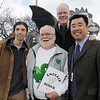 Artist Chapin Diamond, left, poses with Former Emerald Elementary principals John Ortner, Larry Leatherman and current principal David Tanaka with the steel sculpture of the school's mascot, Snortner, after the dedication ceremony on Thursday. Snortner is named after John Ortner. <br /> <br /> March 31, 2011<br /> staff photo/David R. Jennings