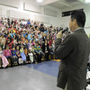 Emerald Elementary School principal David Tanaka talks to the student body during the dedication ceremony for sculpture of the school's mascot, Snortner, on Thursday. <br /> March 31, 2011<br /> staff photo/David R. Jennings