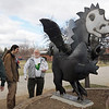 Former Emerald Elementary principal's Larry Leatherman, left, and John Ortner right,  chat with artist Chapin Diamond who made the sculpture of Snortner, the school's mascot, after the dedication ceremony on Thursday. Snortner is named after John Ortner. <br /> <br /> March 31, 2011<br /> staff photo/David R. Jennings
