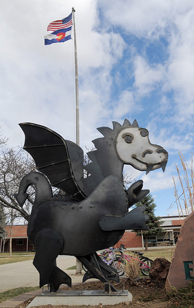Emerald Elementary School's sculpture of Snortner, the school's mascot, on Thursday.  <br /> <br /> March 31, 2011<br /> staff photo/David R. Jennings