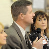 Emerald Elementary School principal candidates Keith Ouweneel, center, Victoria Kaye, right, and Samara Williams answer questions from audience members during  the community forum at the school on Thursday.<br /> March 22, 2012 <br /> staff photo/ David R. Jennings