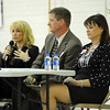 Emerald Elementary School principal candidates Samara Williams, left, Keith Ouweneel and Victoria Kaye answer questions from audience members during  the community forum at the school on Thursday.<br /> March 22, 2012 <br /> staff photo/ David R. Jennings